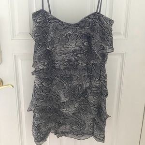BCBG Ginger Strapless Ruffled Tiered Dress Size 8
